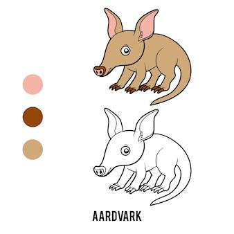 Livre de coloriage pour les enfants, aardvark