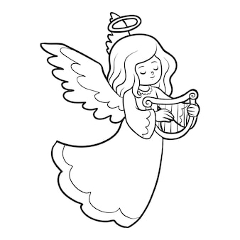 Livre de coloriage pour les enfants, ange avec harpe