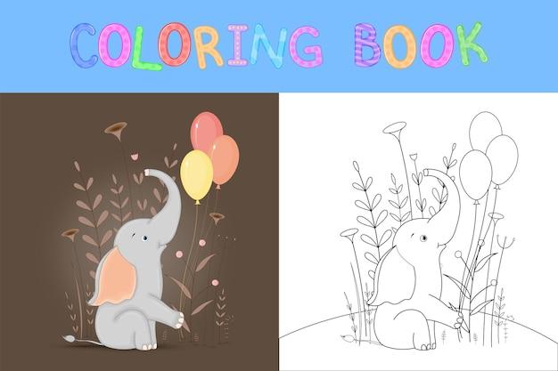 Livre de coloriage pour enfants avec des animaux de dessin animé. tâches éducatives pour les enfants d'âge préscolaire éléphant mignon.