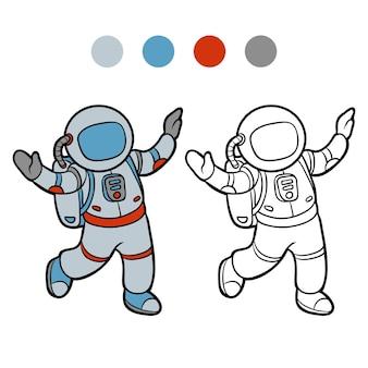 Livre de coloriage pour des enfants, astronaute