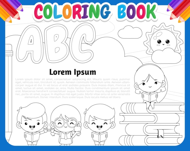 Livre de coloriage pour les enfants. bannière d'apprentissage et de lecture d'étudiant mignon