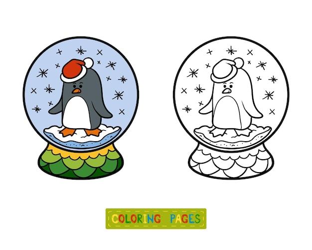 Livre de coloriage pour des enfants, boule de neige d'hiver avec le pingouin