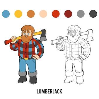 Livre de coloriage pour les enfants, bûcheron
