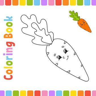 Livre de coloriage pour les enfants. carotte de légumes. caractère gai. style de dessin animé mignon.