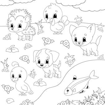 Livre de coloriage pour les enfants. clipart animalier.