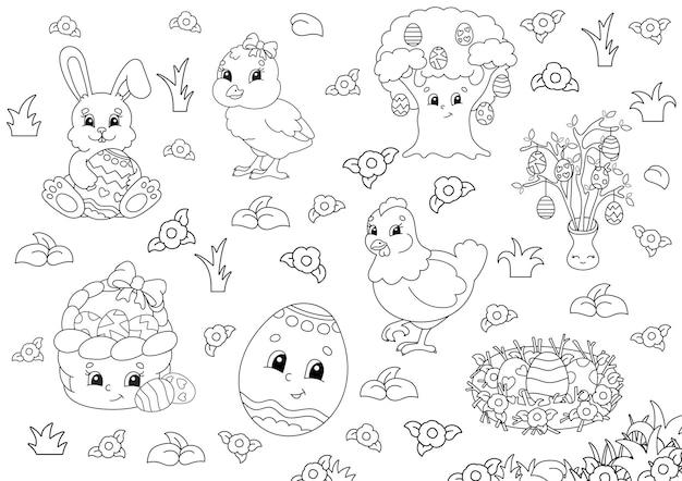 Livre de coloriage pour les enfants. clipart de pâques.