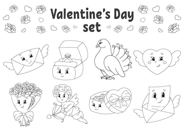 Livre de coloriage pour les enfants clipart saint valentin