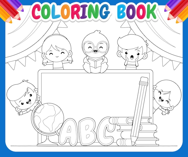 Livre de coloriage pour les enfants. dessin animé, enfants heureux, et, pingouin, éducation