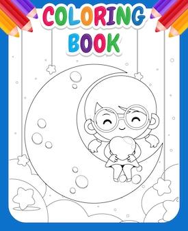 Livre de coloriage pour les enfants. dessin animé mignon petite fille assise sur la lune et tenant le coeur