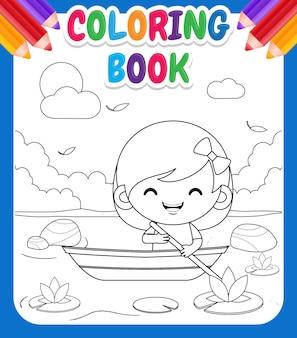 Livre de coloriage pour les enfants. dessin animé mignon petite fille à cheval sur le bateau à l'illustration de la rivière