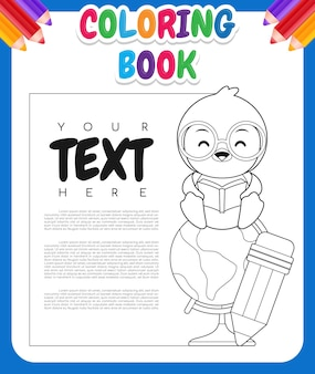 Livre de coloriage pour les enfants. dessin animé mignon pingouin assis sur le globe terrestre
