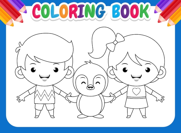 Livre de coloriage pour les enfants. enfants de dessin animé et pingouin.