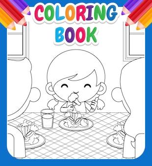 Livre de coloriage pour les enfants avec une fille aime manger des légumes