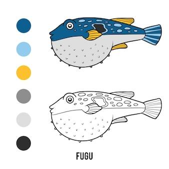 Livre de coloriage pour les enfants, fugu