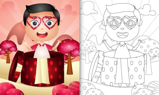 Livre de coloriage pour les enfants avec un garçon mignon dans la boîte-cadeau sur le thème de la saint-valentin