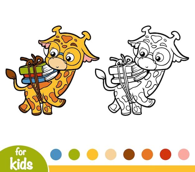 Livre de coloriage pour enfants, girafe et livres