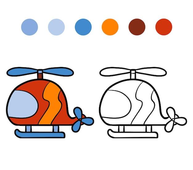 Livre de coloriage pour des enfants, hélicoptère