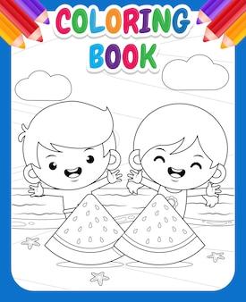 Livre de coloriage pour les enfants heureux enfants mignons et grandes tranches de pastèque à la plage
