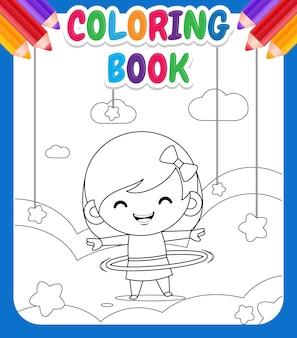 Livre de coloriage pour les enfants. illustration mignonne petite fille jouant à hula hoop sur cloud