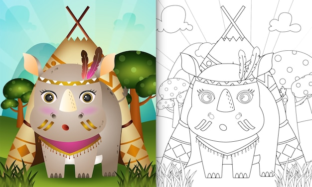 Livre de coloriage pour les enfants avec une illustration de personnage de rhinocéros tribal boho mignon