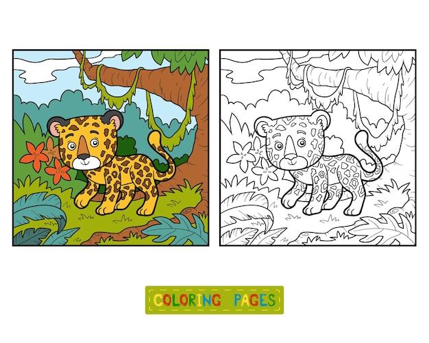 Livre de coloriage pour enfants, jaguar et arrière-plan
