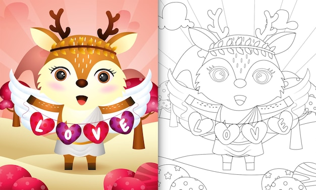 Livre de coloriage pour les enfants avec un joli ange cerf à l'aide de costume de cupidon tenant un drapeau en forme de coeur