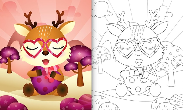 Livre de coloriage pour les enfants avec un joli cerf étreignant la saint-valentin sur le thème du coeur