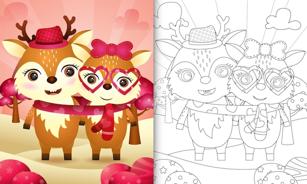 Livre de coloriage pour les enfants avec un joli couple de cerfs de la saint-valentin illustré
