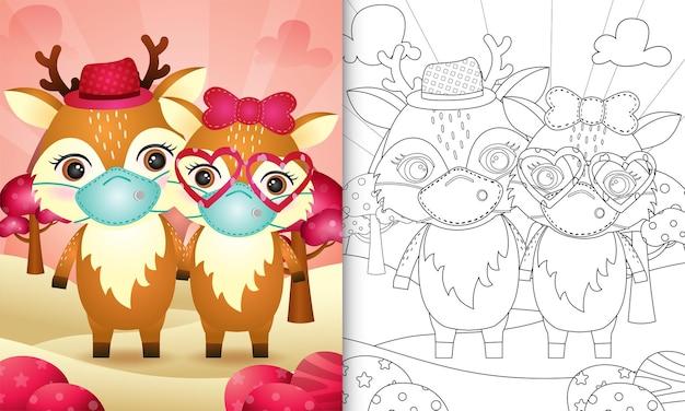 Livre de coloriage pour les enfants avec un joli couple de cerfs de la saint-valentin utilisant un masque protecteur
