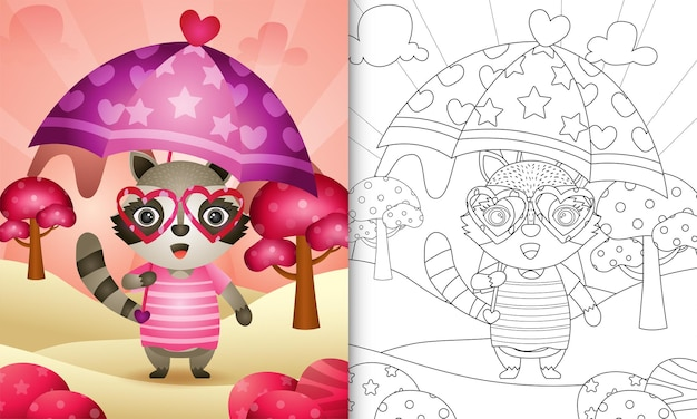 Livre de coloriage pour les enfants avec un joli raton laveur tenant un parapluie sur le thème de la saint-valentin