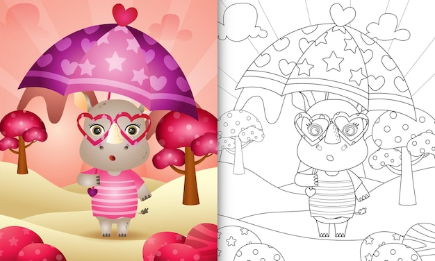 Livre de coloriage pour les enfants avec un joli rhinocéros tenant un parapluie sur le thème de la saint-valentin