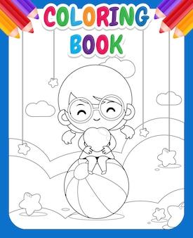 Livre de coloriage pour les enfants. jolie fille heureuse tenant le coeur sur le nuage