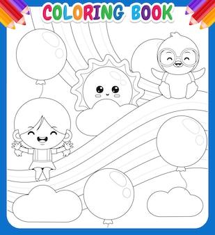Livre de coloriage pour les enfants. jolie fille et pingouin assis sur l'arc-en-ciel