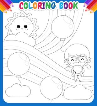 Livre de coloriage pour les enfants. jolie fille tenant coeur assis sur l'arc-en-ciel