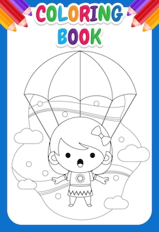 Livre de coloriage pour les enfants. jolie petite fille volant avec parachute