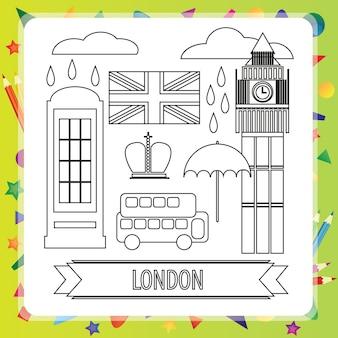 Livre de coloriage pour les enfants - londres - illustration vectorielle