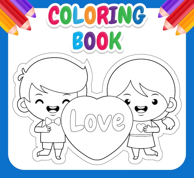 Livre de coloriage pour les enfants. mignon, chibi, gosses, tenue, coeur