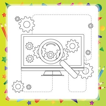 Livre de coloriage pour les enfants - ordinateur - illustration vectorielle