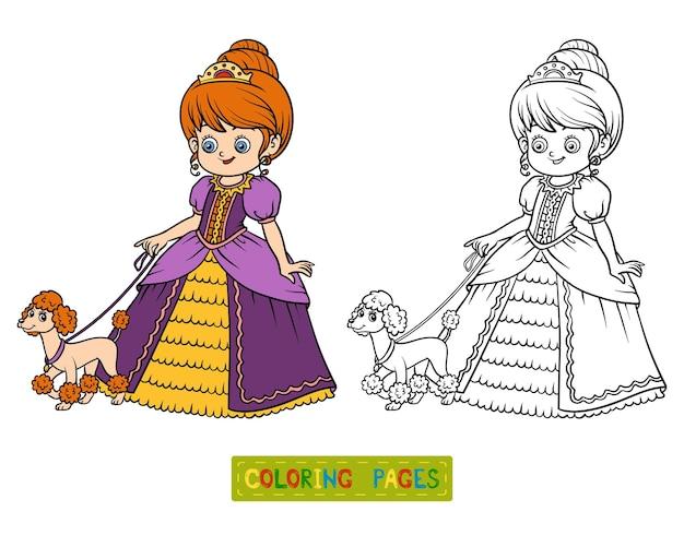 Livre de coloriage pour enfants, personnage de dessin animé, princesse avec caniche