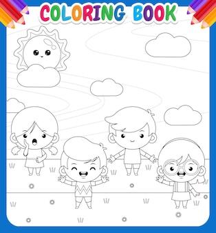 Livre de coloriage pour les enfants. quatre enfants jouant sur l'extérieur avec une grande bannière