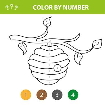 Livre de coloriage pour enfants, ruche d'abeilles drôle - couleur par numéros. jeu éducatif pour enfants. colorie l'image par numéro.