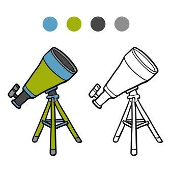 Livre de coloriage pour des enfants, télescope