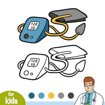 Livre de coloriage pour des enfants, tonomètre pour la mesure de tension artérielle