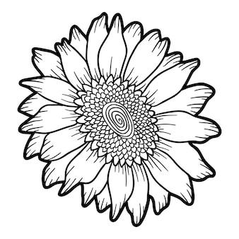 Livre de coloriage pour des enfants, tournesol de fleur