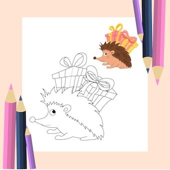 Livre de coloriage pour les enfants en vecteur. mignon petit hérisson en style cartoon. versions monochromes et colorées. collection pour enfants.