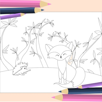 Livre de coloriage pour les enfants en vecteur. mignon petit renard en style cartoon. collection pour enfants.
