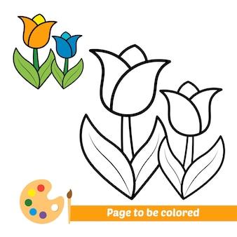 Livre de coloriage pour le vecteur de fleur d'enfants
