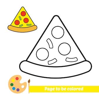 Livre de coloriage pour vecteur de pizza pour enfants