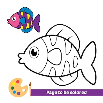 Livre de coloriage pour vecteur de poisson pour enfants