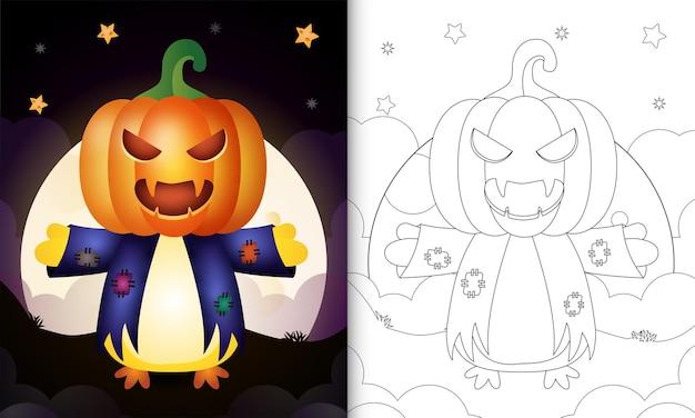 Livre de coloriage avec un poussin mignon utilisant l'épouvantail de costume et la citrouille halloween